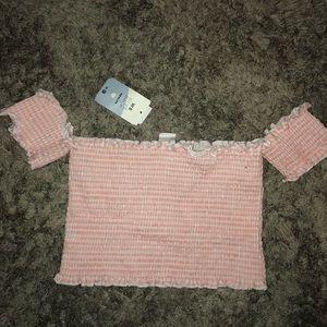 Women's Baby Pink Off-The-Shoulder Crop Top